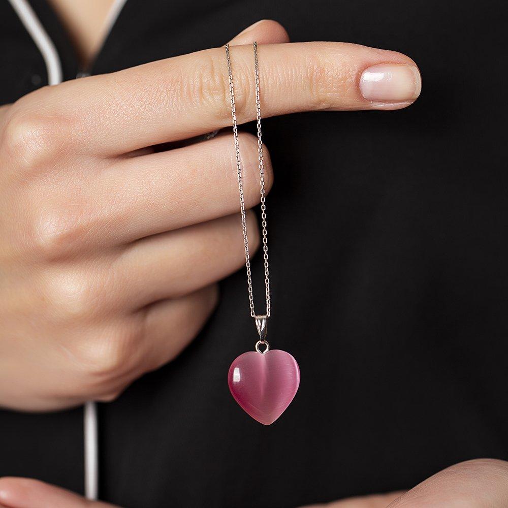 Kalp Tasarım 925 Ayar Gümüş Zincirli Çift Taraflı Fuşya Kedigözü Kolye
