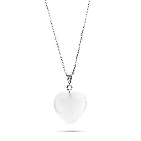 Kalp Tasarım 925 Ayar Gümüş Zincirli Çift Taraflı Soft Beyaz Kedigözü Kolye - Thumbnail