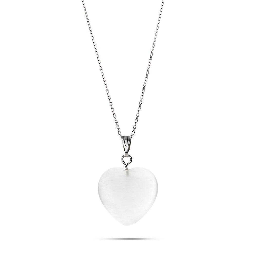 Kalp Tasarım 925 Ayar Gümüş Zincirli Çift Taraflı Soft Beyaz Kedigözü Kolye