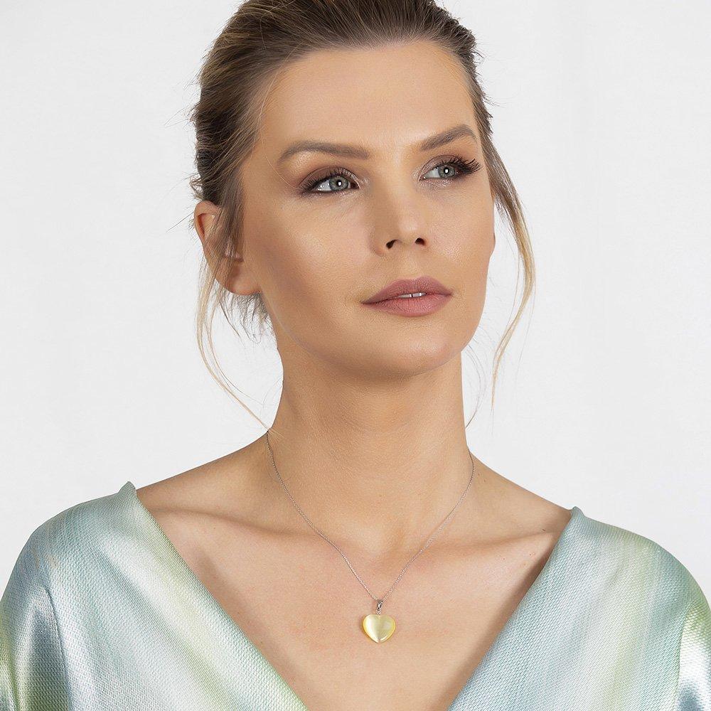 Kalp Tasarım 925 Ayar Gümüş Zincirli Çift Taraflı Soft Yeşil Kedigözü Kolye