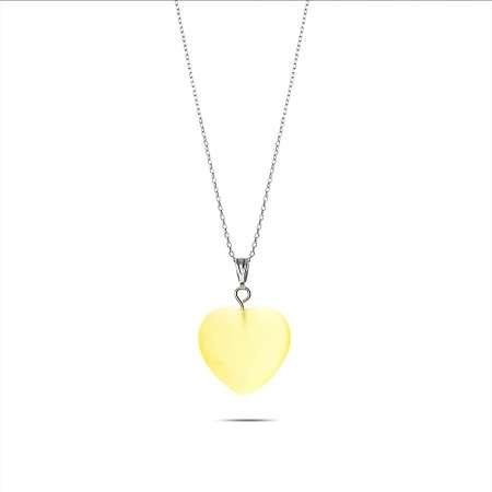 Kalp Tasarım 925 Ayar Gümüş Zincirli Çift Taraflı Soft Yeşil Kedigözü Kolye - Thumbnail