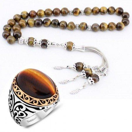 Kaplan Gözü Doğaltaş Tesbih ve 925 Ayar Gümüş Kaplan Gözü Yüzük - Thumbnail