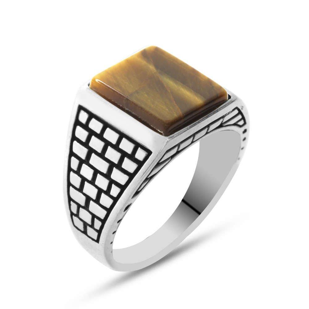 Kaplangözü Taşlı 925 Ayar Gümüş Kaledar Yüzüğü