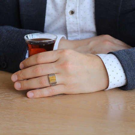 Kaplangözü Taşlı 925 Ayar Gümüş Kaledar Yüzüğü - Thumbnail