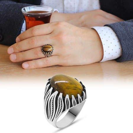 Kaplangözü Taşlı Alev Tasarım 925 Ayar Gümüş Kızılderili Yüzüğü - Thumbnail