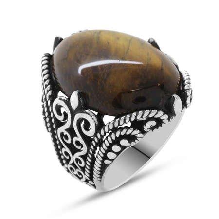 Kaplangözü Taşlı Ferforje Tasarım 925 Ayar Gümüş Erkek Yüzük - Thumbnail