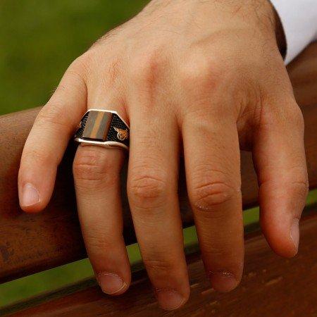 Kaplangözü Taşlı Gümüş Yüzük - Thumbnail