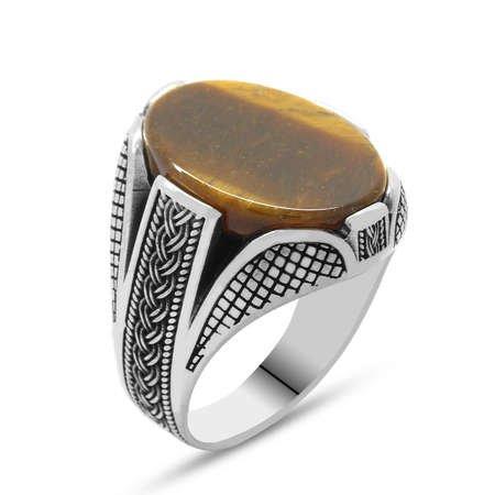 Kaplangözü Taşlı Örgü Tasarım 925 Ayar Gümüş Erkek Yüzük - Thumbnail