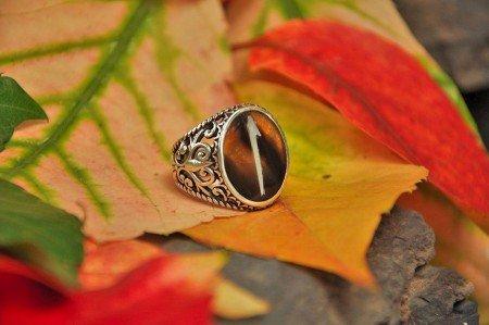 Bağa Üzerine Sedef Kakma Elif Harfli El İşi Yüzük - Thumbnail