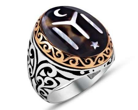 Kişiye Özel İsim ve Resim Motifli Bağa-Sedef Kakma 925 Ayar Gümüş Yüzük - Thumbnail