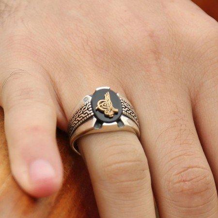 Kara Murat Yüzüğü - 925 Ayar Gümüş Tuğralı Oniks Taşlı Yüzük - Thumbnail