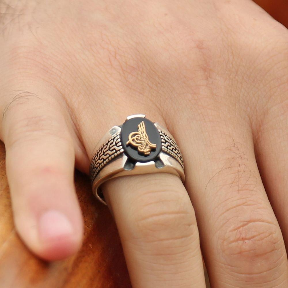 Kara Murat Yüzüğü - 925 Ayar Gümüş Tuğralı Oniks Taşlı Yüzük