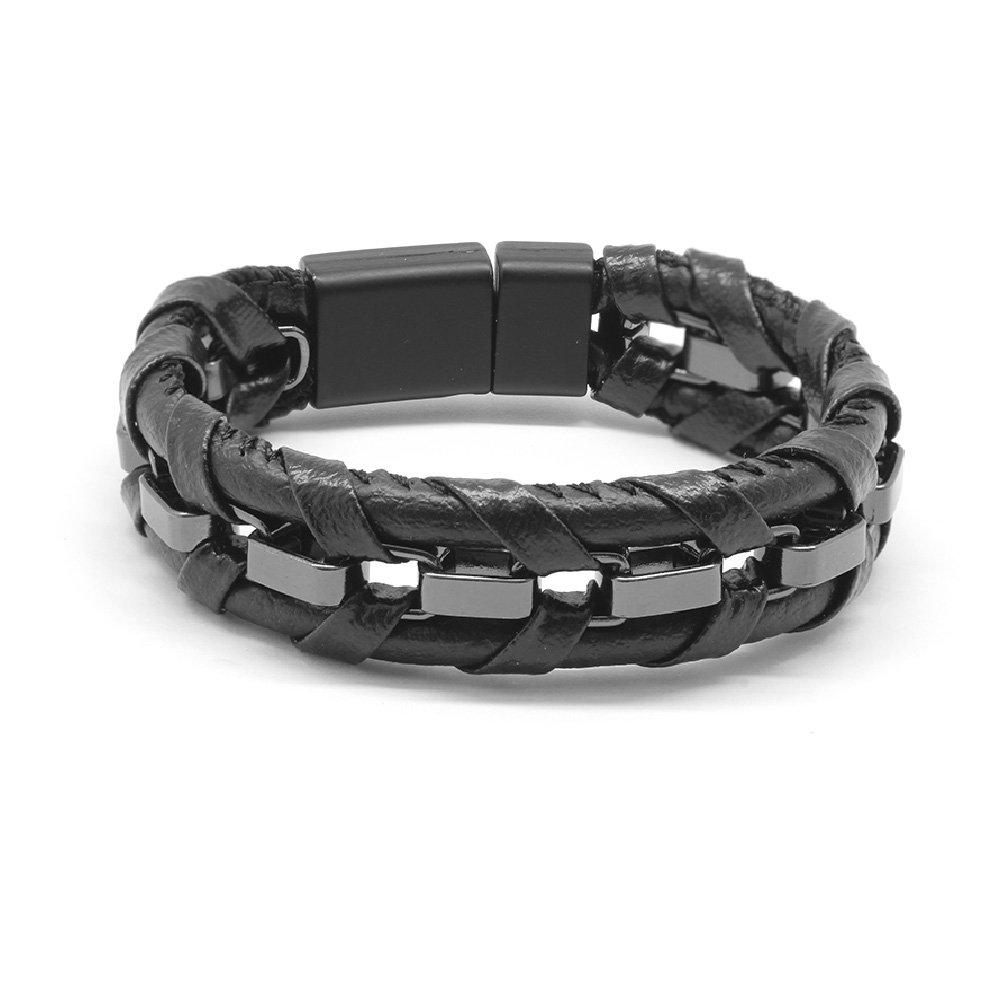 Kararmaz Metal Örgülü Siyah Deri-Çelik Kombinli Erkek Bileklik