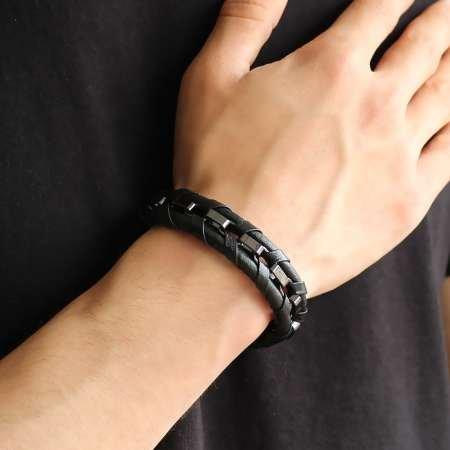 Kararmaz Metal Örgülü Siyah Deri-Çelik Kombinli Erkek Bileklik - Thumbnail