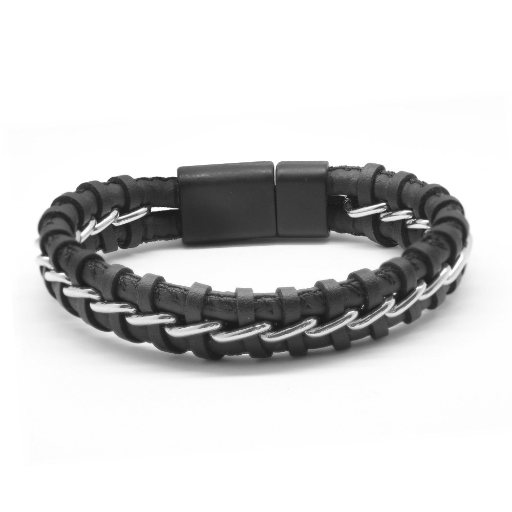 Kararmaz Metal Örgülü Siyah Deri-Çelik Kombinli Erkek Bileklik (M-1)