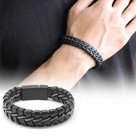 Kararmaz Metal Örgülü Siyah Deri-Çelik Kombinli Erkek Bileklik (M-2) - Thumbnail