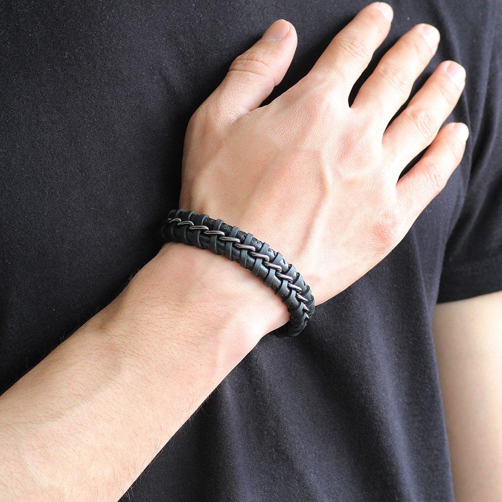 Kararmaz Metal Örgülü Siyah Deri-Çelik Kombinli Erkek Bileklik (M-2)