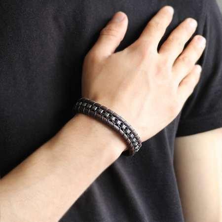 Kararmaz Metal Tasarım Kahverengi Deri-Çelik Kombinli Erkek Bileklik - Thumbnail