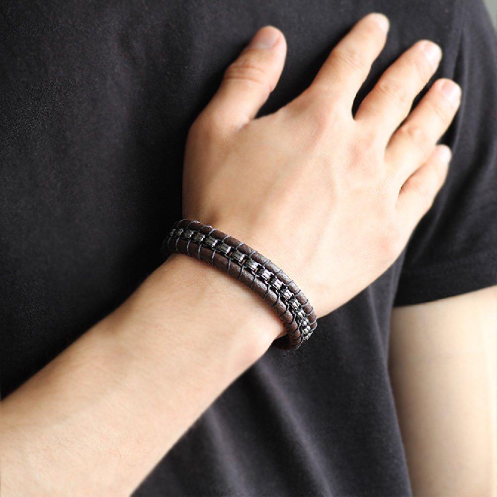 Kararmaz Metal Tasarım Kahverengi Deri-Çelik Kombinli Erkek Bileklik