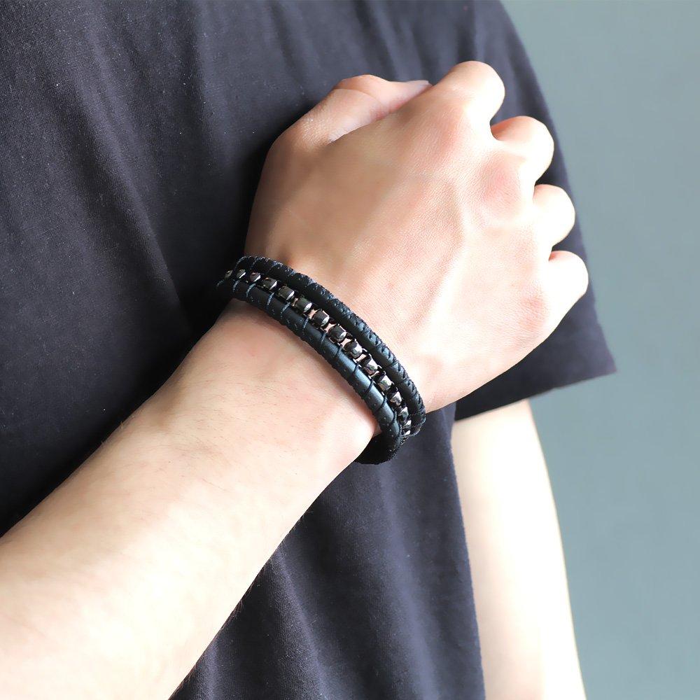 Kararmaz Metal Tasarım Siyah Deri-Çelik Kombinli Erkek Bileklik