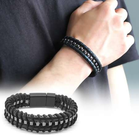 Kararmaz Metal Tasarım Siyah Deri-Çelik Kombinli Erkek Bileklik - Thumbnail