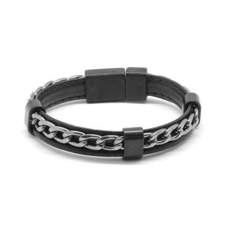 Kararmaz Metal Zincir Örgülü Siyah Deri-Çelik Kombinli Erkek Bileklik - Thumbnail