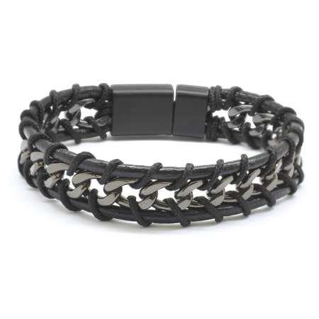 Kararmaz Metal Zincir Örgülü Üç Sıra Siyah Deri-Çelik Kombinli Erkek Bileklik - Thumbnail