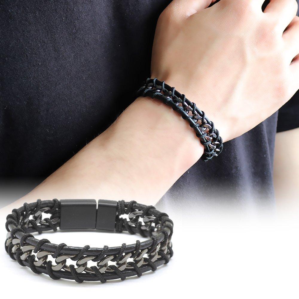 Kararmaz Metal Zincir Örgülü Üç Sıra Siyah Deri-Çelik Kombinli Erkek Bileklik