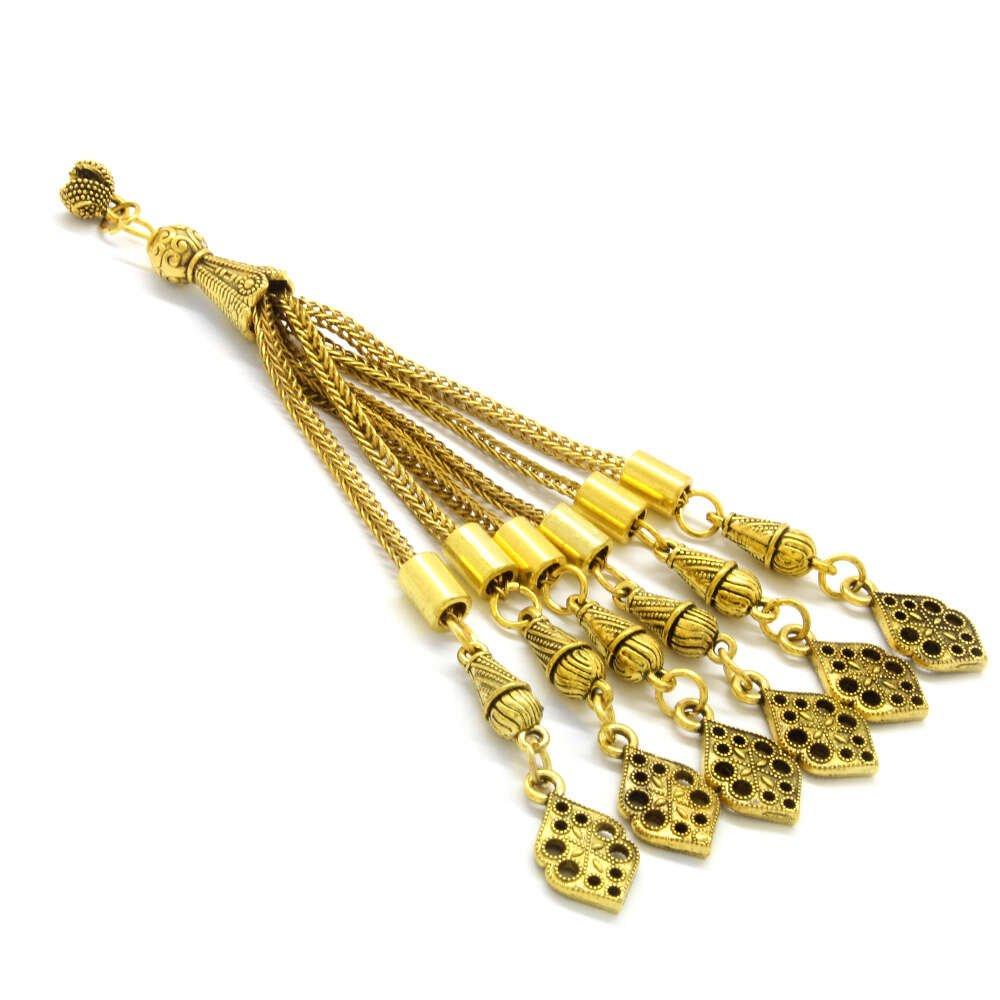 Karatay Tasarım 6'lı Gold Renk Kararmaz Metal Püskül