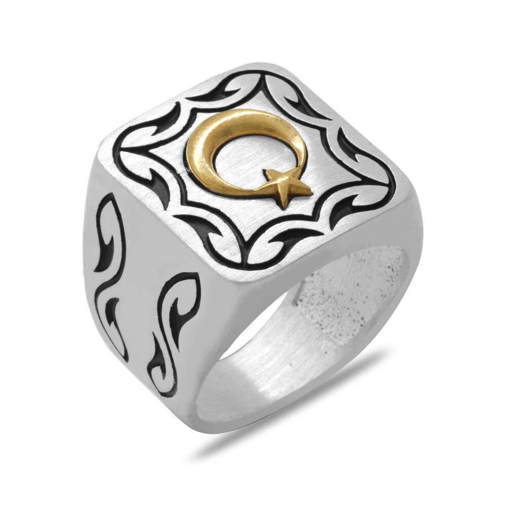 Kare Tasarım Ayyıldız Temalı Özel Renk 925 Ayar Gümüş Erkek Yüzük