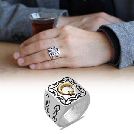 Kare Tasarım Ayyıldız Temalı Özel Renk 925 Ayar Gümüş Erkek Yüzük - Thumbnail