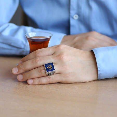 Kare Tasarım Çift Başlı Kartal ve Arma Temalı Mavi Mineli 925 Ayar Gümüş Erkek Yüzük - Thumbnail