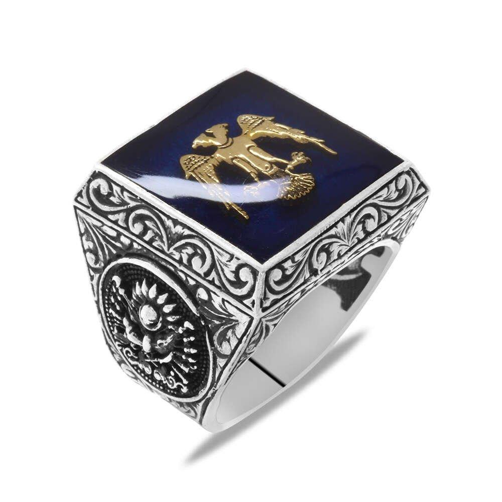 Kare Tasarım Çift Başlı Kartal ve Arma Temalı Mavi Mineli 925 Ayar Gümüş Erkek Yüzük
