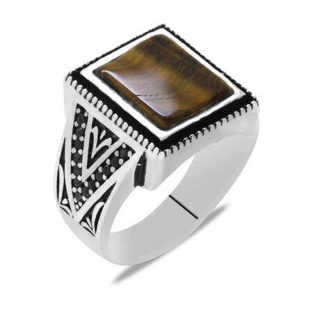 Kare Tasarım Kaplangözü Taşlı 925 Ayar Gümüş Erkek Yüzük - Thumbnail