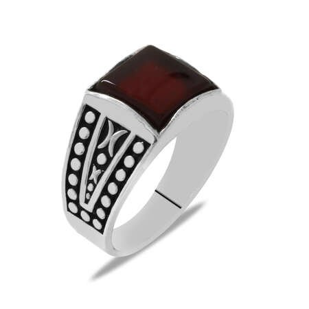 Kare Tasarım Kırmızı Akik Taşlı 925 Ayar Gümüş Erkek Yüzük - Thumbnail