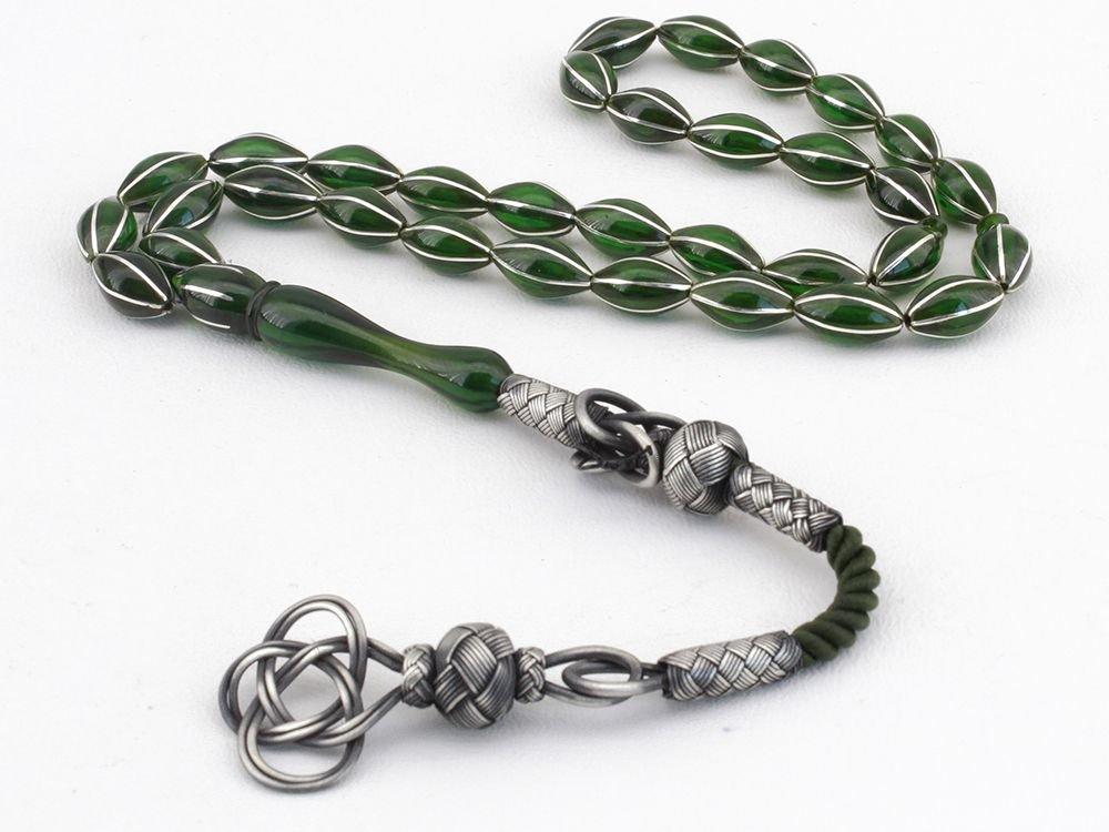 Karpuz Dilim Gümüş İşlemeli Yeşil Sıkma Kehribar Tesbih