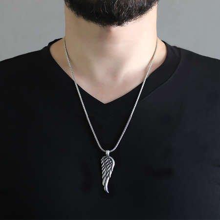Kartal Kanadı Tasarım Kalın Zincirli 925 Ayar Gümüş Erkek Kolye - Thumbnail