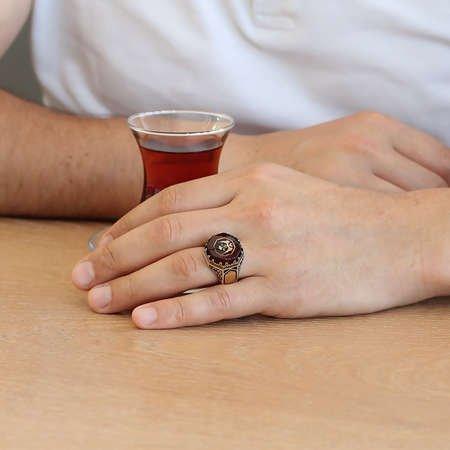 Kartal Motifli Kırmızı Sıkma Kehribar Taşlı 925 Ayar Gümüş Erkek Yüzük - Thumbnail