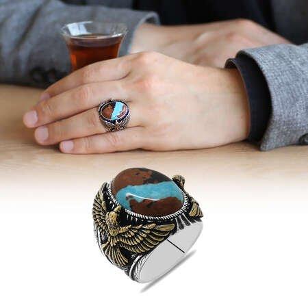 Kartal Tasarım Doğal Arizona Turkuaz Taşlı 925 Ayar Gümüş Erkek Yüzük - Thumbnail