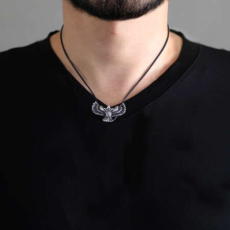 Kartal Tasarım İp Zincirli 925 Ayar Gümüş Erkek Kolye - Thumbnail