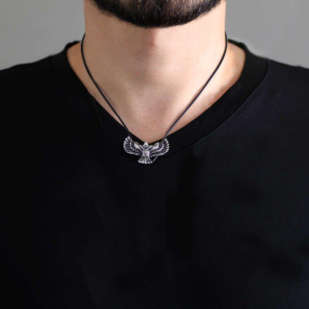 Kartal Tasarım İp Zincirli 925 Ayar Gümüş Erkek Kolye