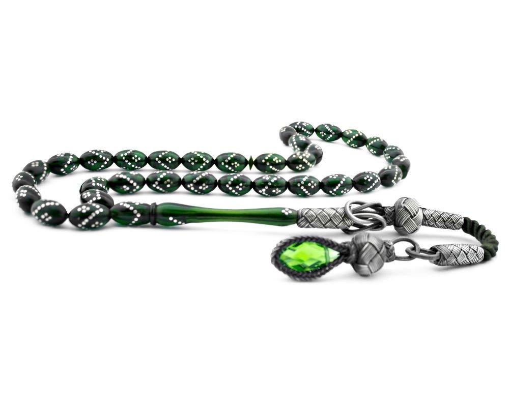 Kazaz Püsküllü Gümüş İşlemeli Yeşil Sıkma Kehribar Tesbih