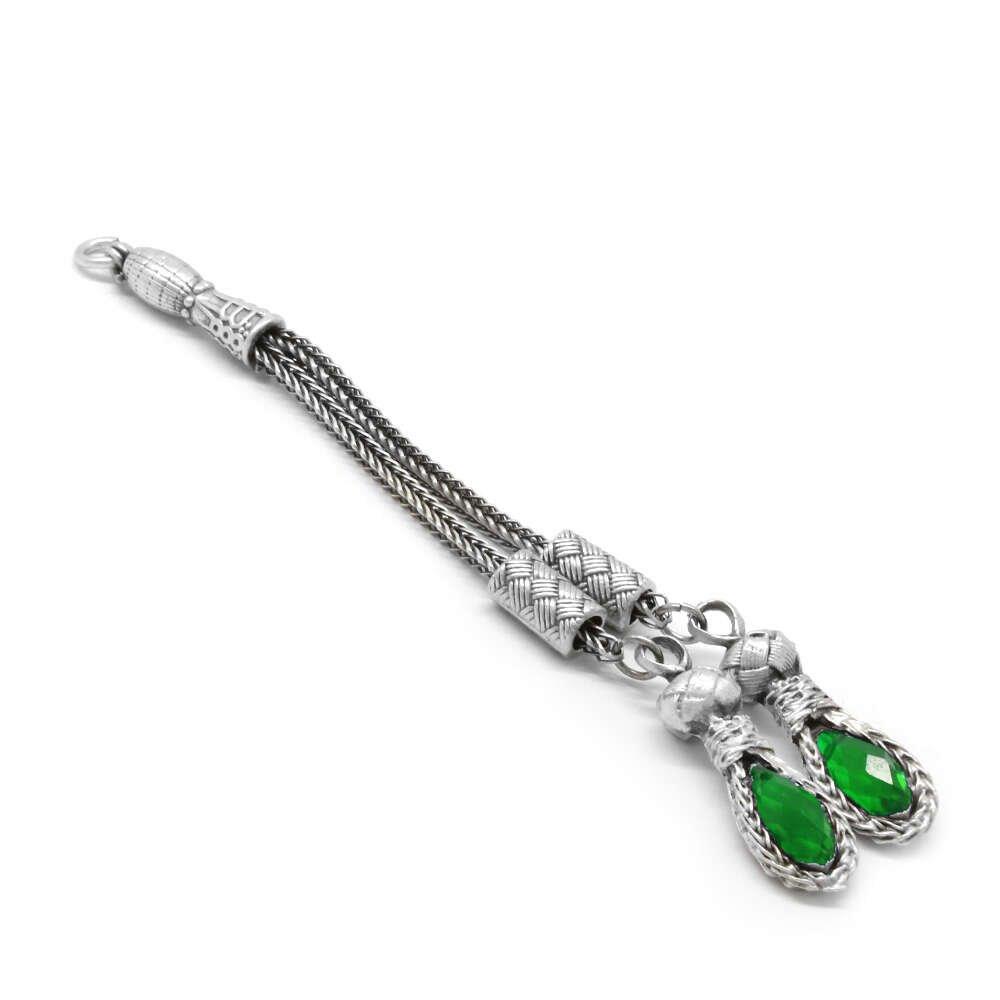 Kazaz Tasarım 2'li Yeşil-Antik Gümüş Renk Kararmaz Metal Püskül