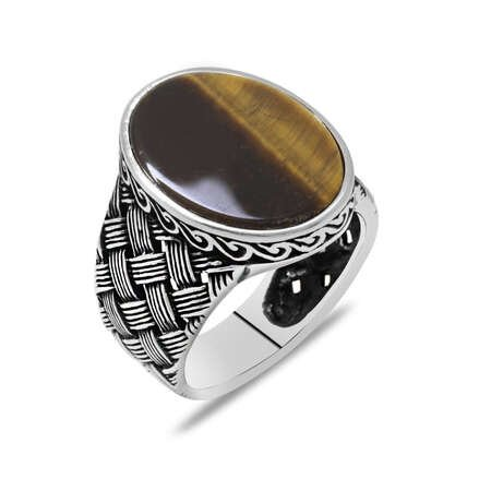 Kazaziye Tasarım Kaplan Gözü Taşlı 925 Ayar Gümüş Erkek Yüzük - Thumbnail