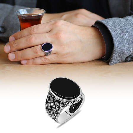 Kazaziye Tasarım Siyah Oniks Taşlı 925 Ayar Gümüş Erkek Yüzük - Thumbnail