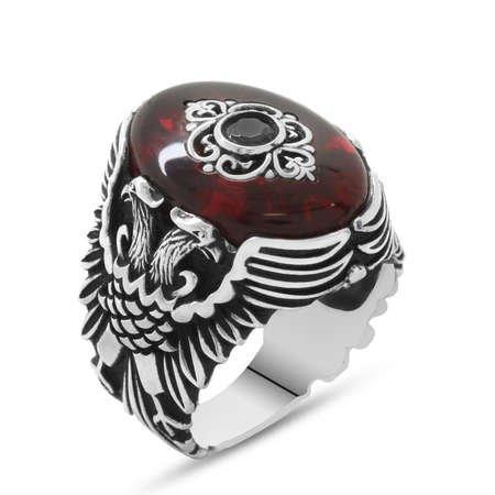 Kehribar Taşlı Çift Kartal Tasarım 925 Ayar Gümüş Beylerbeyi Yüzüğü - Thumbnail