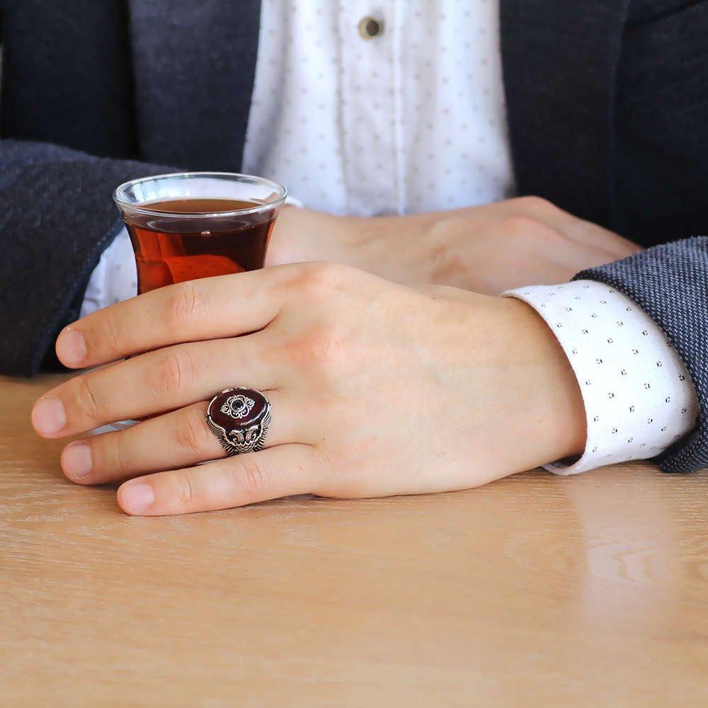 Kehribar Taşlı Çift Kartal Tasarım 925 Ayar Gümüş Beylerbeyi Yüzüğü
