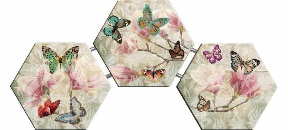Kelebek ve Çiçek Temalı Kanvas Tablo