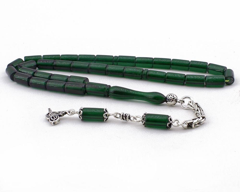 Kesme Model Gümüş Püsküllü Yeşil Sıkma Kehribar Tesbih