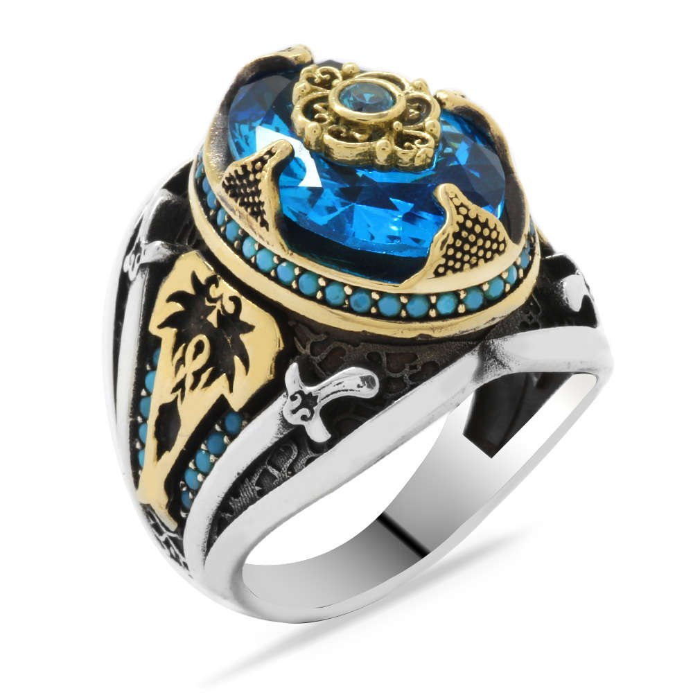 Kılıç Temalı Faset Kesim Aqua Mavi Zirkon Taşlı 925 Ayar Gümüş Erkek Yüzük